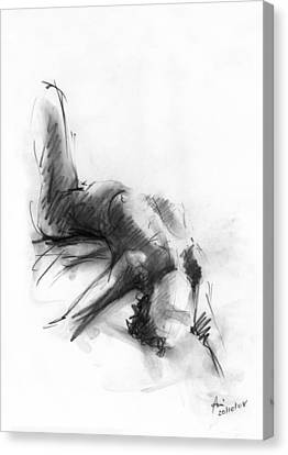 Woman Drawings Drawings Canvas Print - Nude 4 by Ani Gallery