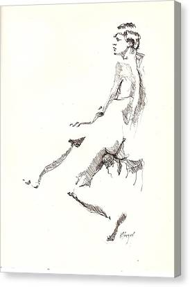 Canvas Print featuring the drawing Nude 7 by R  Allen Swezey