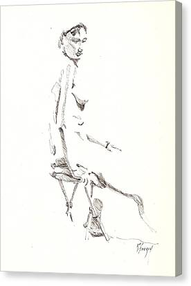 Canvas Print featuring the drawing Nude 8 by R  Allen Swezey