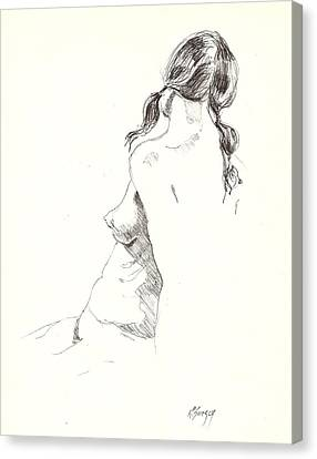 Canvas Print featuring the drawing Nude 9 by R  Allen Swezey