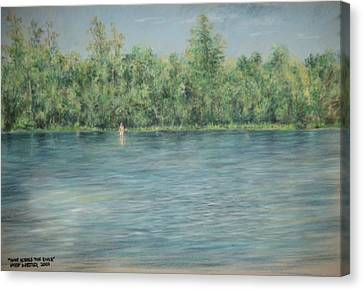 Nude Across The River Canvas Print