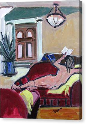 Canvas Print featuring the painting Nude And Foyer by Betty Pieper