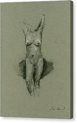 Nude Art Print Drawing Canvas Print by Juan  Bosco