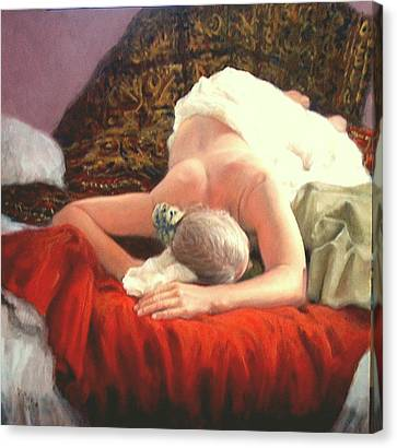 Canvas Print featuring the painting Nude At Rest 1 by Donelli  DiMaria