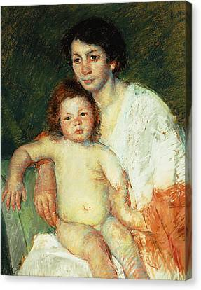 Nude Baby On Mother's Lap Resting Her Right Arm On The Back Of The Chair Canvas Print by Mary Stevenson Cassatt