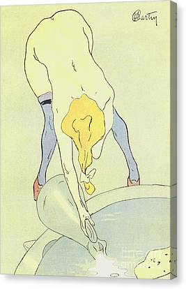 Nude Bathing Canvas Print by French School