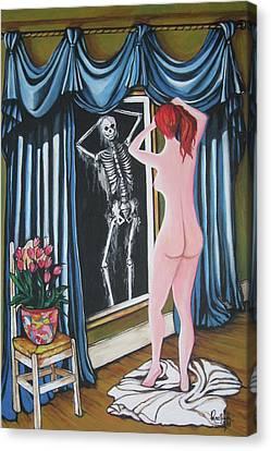 Nude Beauty On The Mirrow Canvas Print