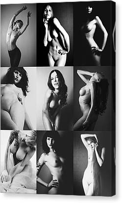 Nude Bw Collage  Canvas Print by Falko Follert