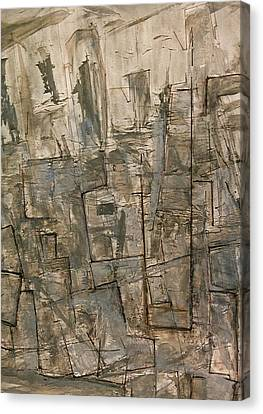 Canvas Print featuring the painting Nude Descending Stairs In Nyc by Robert Anderson