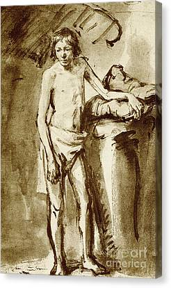Nude Drawing For A Youth Canvas Print by Rembrandt Harmensz van Rijn