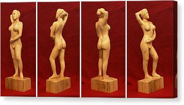 Well Endowed Canvas Print - Nude Female Impressionistic Wood Sculpture Donna by Mike Burton