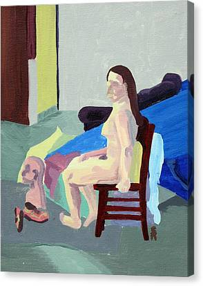 Nude Female In Red Chair Canvas Print by Sheri Buchheit
