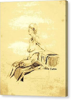 Nude Female Seated Looking Away Canvas Print by Sheri Buchheit