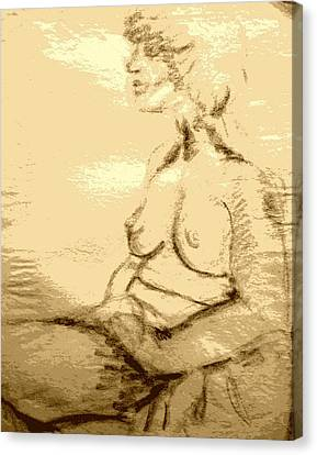 Nude Female Seated  Canvas Print by Sheri Buchheit