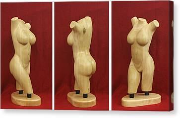 Well Endowed Canvas Print - Nude Female Wood Torso Sculpture Roberta    by Mike Burton