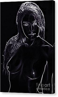Nude Fine Art Line Drawing Print White On Black Toriwaites 5959. Canvas Print