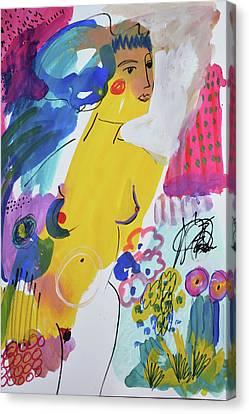 Nude In A Garden Canvas Print