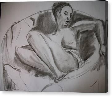 Nude In Chair Canvas Print by Adam Davis