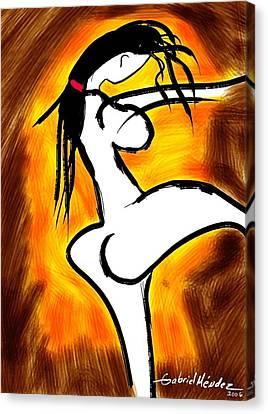 Nude In Dark Color Canvas Print by Gabriel Mendez