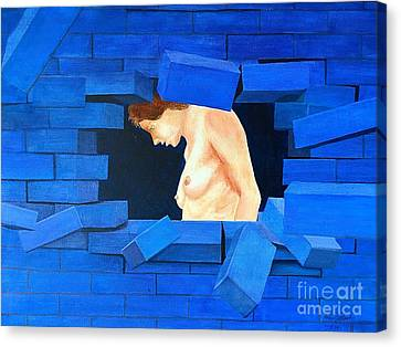 Nude Lady Through Exploding Wall Canvas Print