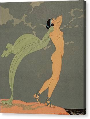 Nude   Le Silence De Mnasidika Canvas Print by Georges Barbier