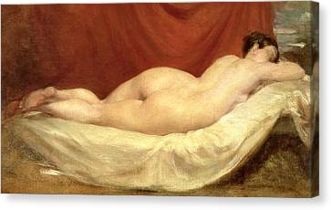 Nude Lying On A Sofa Against A Red Curtain Canvas Print by William Etty