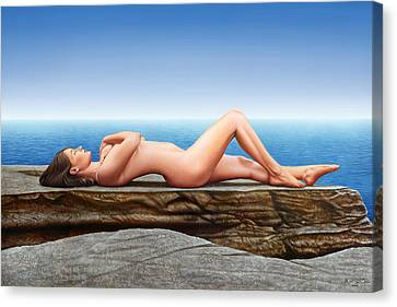 Nude Lying On The Rocks Canvas Print