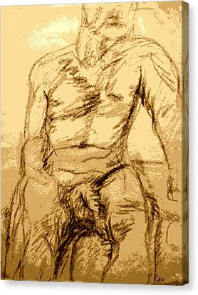 Nude Male Seated Front Canvas Print by Sheri Buchheit