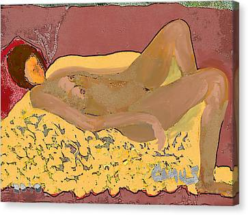 Nude Model In Relax Canvas Print by Carlos Camus