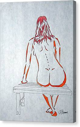 Nude On Bench Canvas Print
