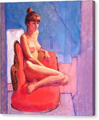 Nude On Chaise Longue Canvas Print by Roz McQuillan