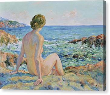 Nude On The Coast Monaco Canvas Print by Pierre Van Dijk