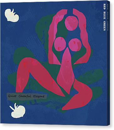 Nude - Red Blue Green Pop Art Poster  Canvas Print