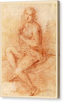 Woman Playing A Lute Canvas Print - Nude Seated Woman Playing A Lute by Giovanni Baglione