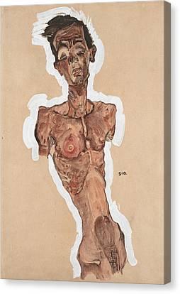 Self-portrait Canvas Print - Nude Self-portrait by Egon Schiele