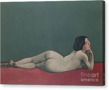 Chin On Hand Canvas Print - Nude Stretched Out On A Piece Of Cloth by Felix Edouard Vallotton