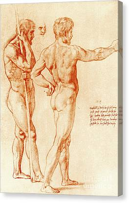 Nude Study Of Two Warriors Canvas Print by Raphael