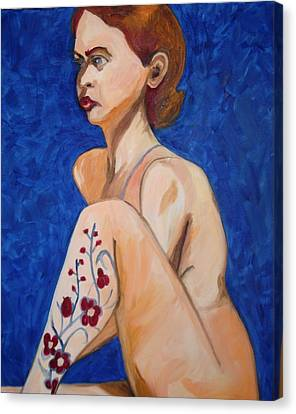 Canvas Print featuring the painting Nude With Flower Tatoo by Esther Newman-Cohen