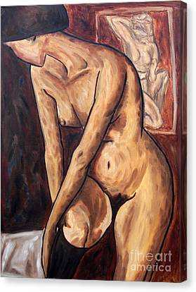 Nude With Stocking Tribute To Adolf Erbsloh, Series On Expressionism Canvas Print by Alessandro Nesci