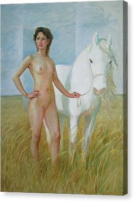 Nude With White Horse Canvas Print