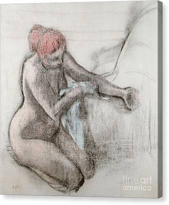 Nude Woman Drying Herself After The Bath Canvas Print by Edgar Degas