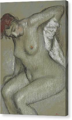 Nude Woman Drying Herself Canvas Print