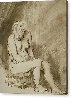 Nude Woman Seated On A Stool  Canvas Print by Rembrandt