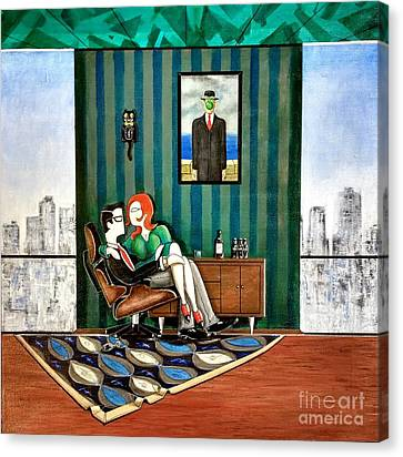 Executive Sitting In Chair With Girl Friday Canvas Print by John Lyes