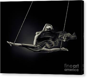 Nude Woman Swinging In Splits In The Air With Bondage Rope And F Canvas Print by Oleksiy Maksymenko