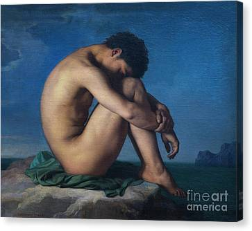 Nude Youth Sitting By The Sea, By Hippolyte Flandrin, 1835-36, M Canvas Print