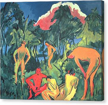Nudes In The Sun, Moritzburg Canvas Print by Ernst Ludwig Kirchner