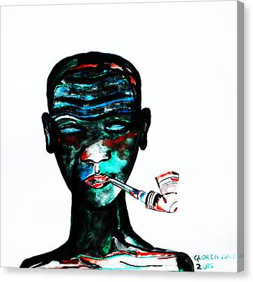 Nuer Lady With Pipe - South Sudan Canvas Print by Gloria Ssali