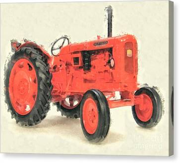 Old Farm Equipment Canvas Print - Nuffield Tractor by Edward Fielding
