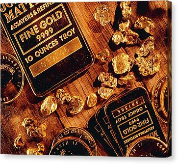 Nuggets, Bars And Coins Made Of Gold Canvas Print by David Nunuk